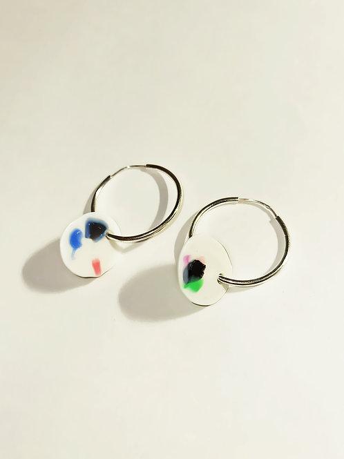 White terrazzo earrings