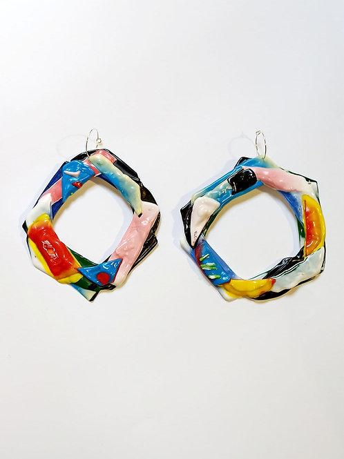 Recycled plastic hoop earrings