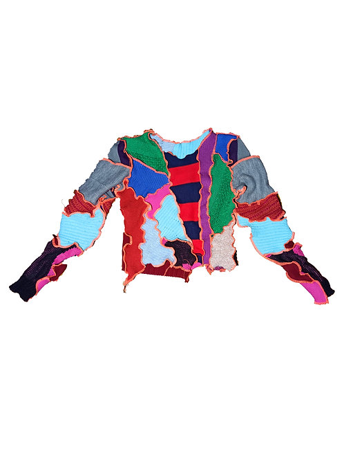 Long-Sleeve Patchwork Top
