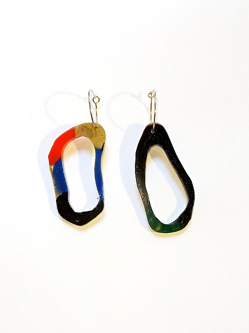 Small oval earrings with hoops- gold