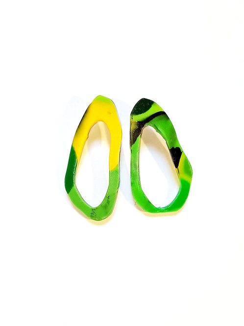 small oval earrings- green