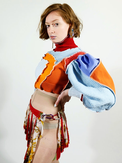 Upcycled puff-sleeve top