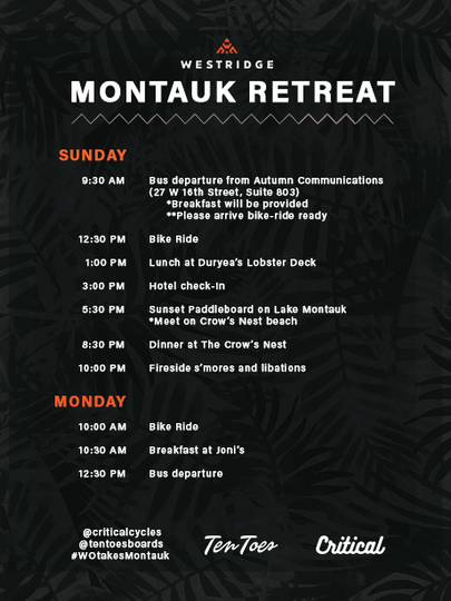 Retreat Itinerary