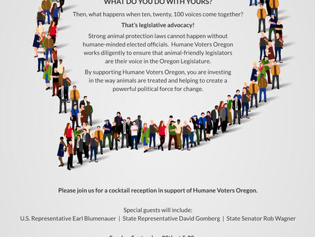Join Us Sept. 30 For A Party To Support Humane Voters Oregon