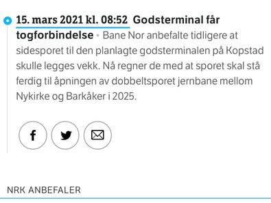 Godsterminal får togforbindelse - NRK 15.3.21
