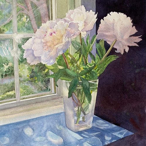 Study for White Peonies in A Swedish Vase