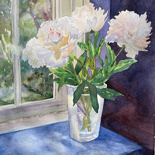 White Peonies in a Swedish Vase