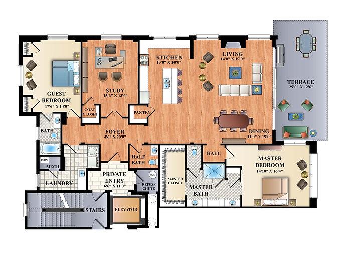 Web-Opt. Verandas 2D Colorized Floorplan