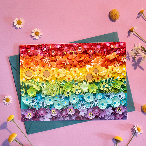 Rainbow Paper Flower Greeting Card
