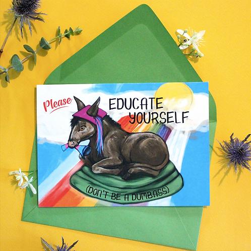 Educated Donkey Greeting Card