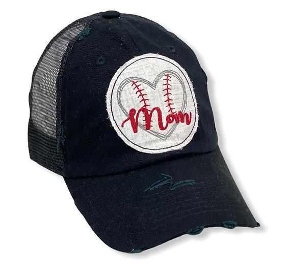 Baseball Mom Heart Black Trucker Hat