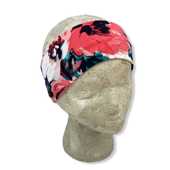 Navy and Coral Floral Headband