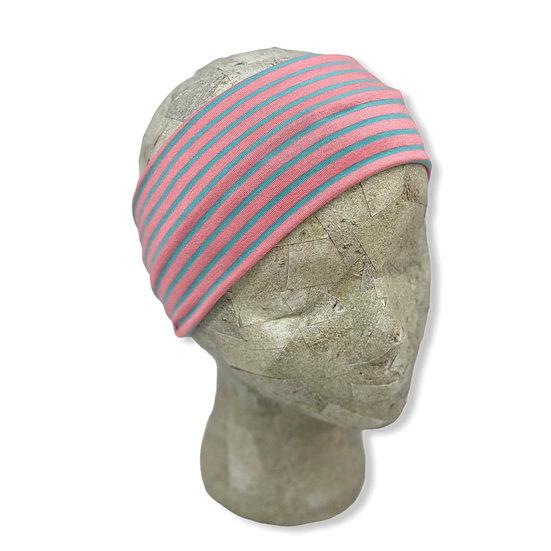 Peach and Teal Stripes Headband