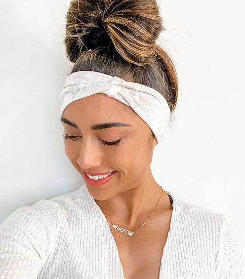 Cream and Tan Snake Skin Headband