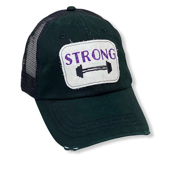 Strong Dumbbell Black and Purple Trucker Hat