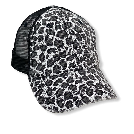 Black And White Animal Print Trucker Hat - Blank
