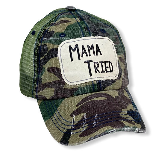 Mama Tried Camo Messy Bun Trucker Hat