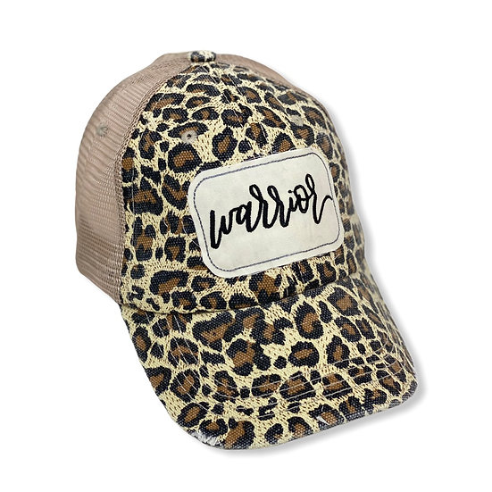 Warrior Animal Print Messy Bun Trucker Hat