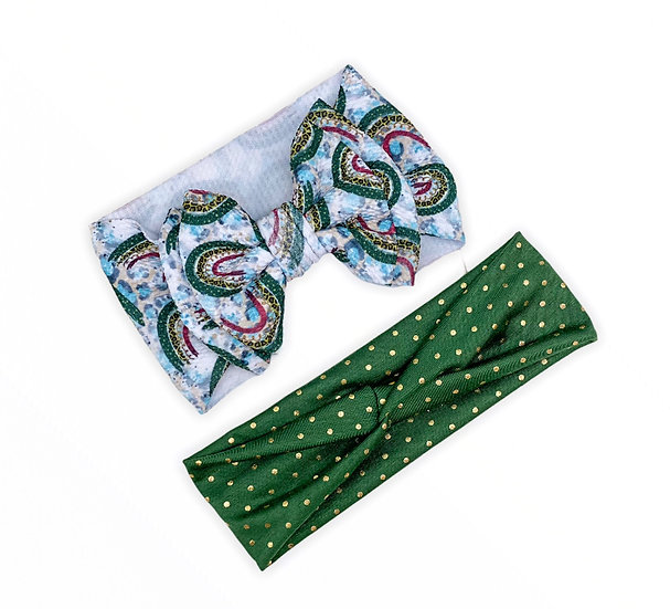 Animal Print Rainbow Green and Gold Mommy and Me Set
