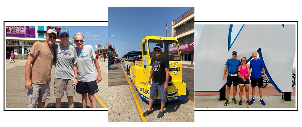 Ernie. his brothers-in-law, Jim and John Owens, and Marge on the boards in Wildwood. Watch out for the Tram Car!
