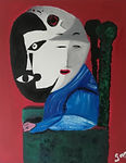 Contemporary painting for office. Modern Art for home. Arte moderna. Arte e Decoro. Oil Paintins. Gioco di Volti. Luca Camberlingo