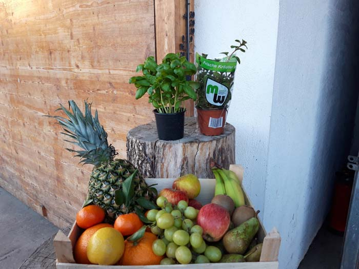 Obst und Kräutertöpfe