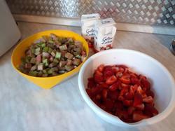 Zutaten für die Rhabarber-Erdbeer-Konfitüre