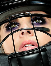 Model, Football Helmet, Makeup, Makeup Artist, Photography, Lips, Lipgloss, Eyeshadow, Cosmetics, Purple