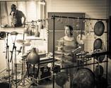 in the studio Marilyn Mazur, Hans-Ulrik
