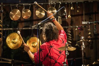 playing Hubback gongs Marilyn Mazur