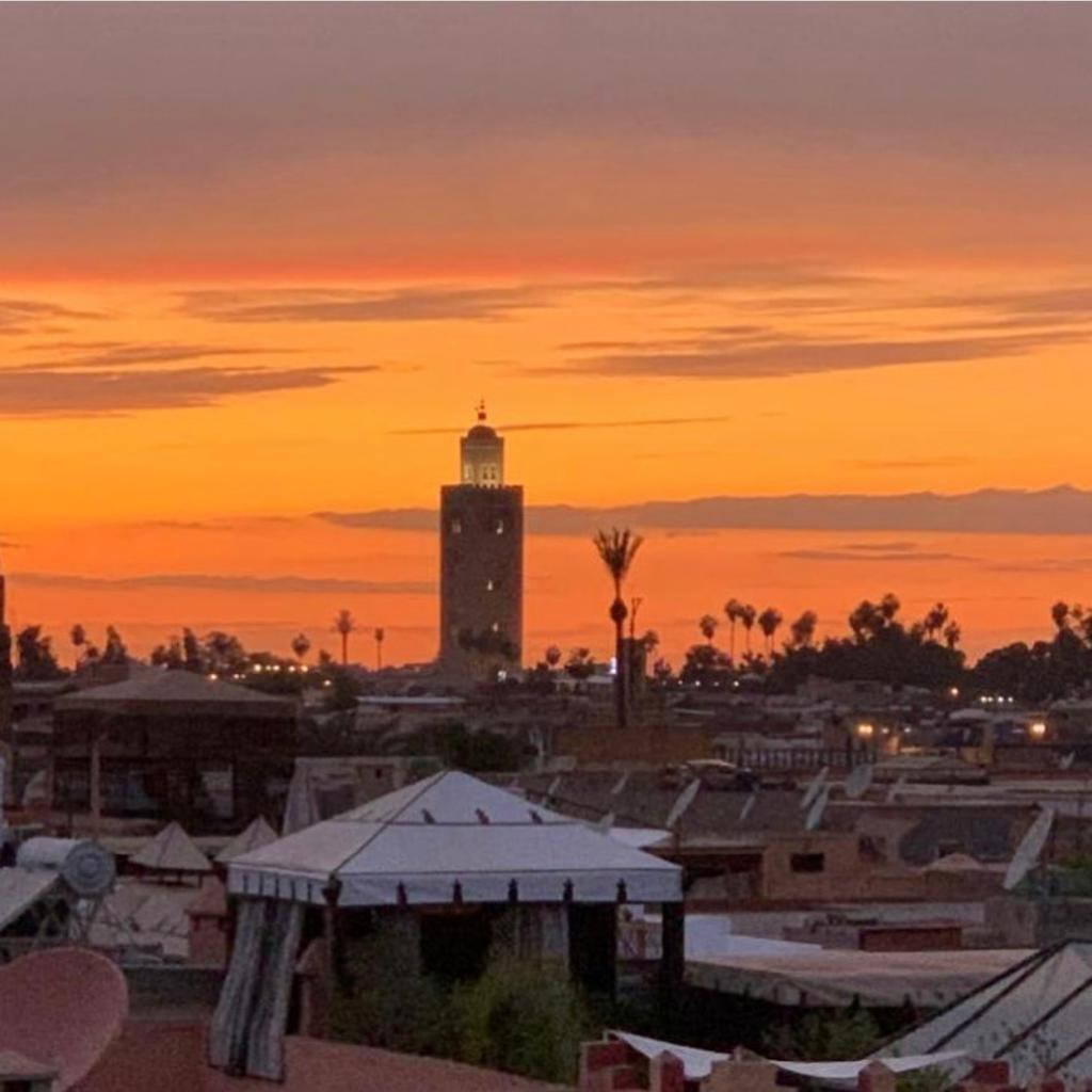 Sunset and Koutoubia view from the RIAD