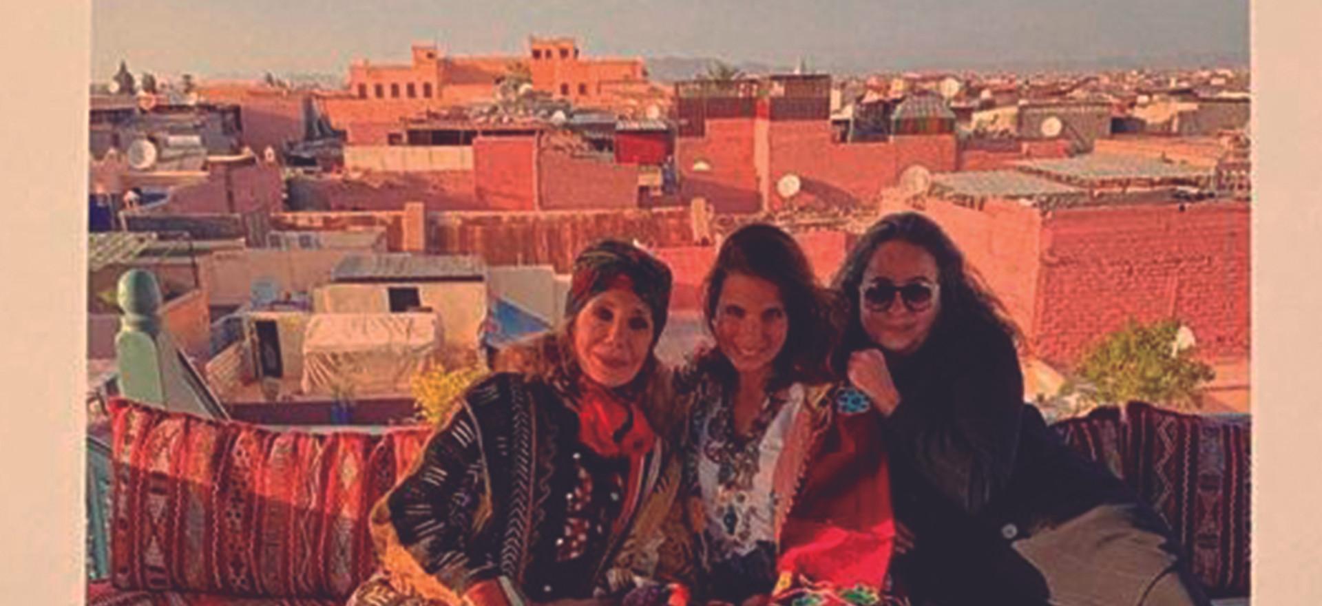 Marisa Berenson, Adriana Bittencourt e Stephane da Pergula do RIAD NOUR.