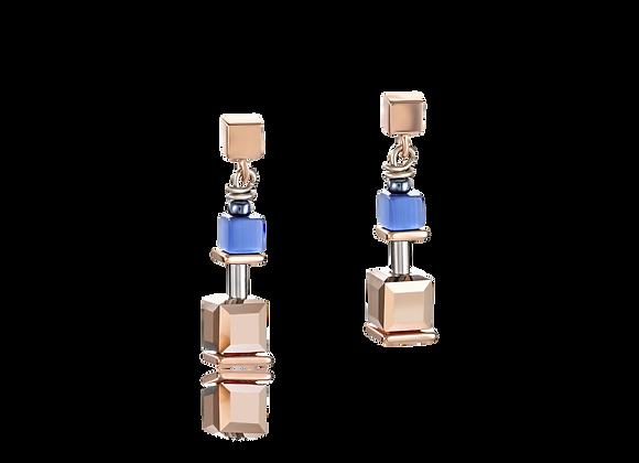 Boucles d'oreille GeoCUBE® bleu-or rose