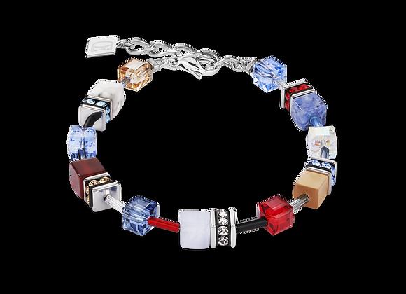 Bracelet GeoCUBE® Cristaux Swarovski® & pierres précieuses bleu-rouge