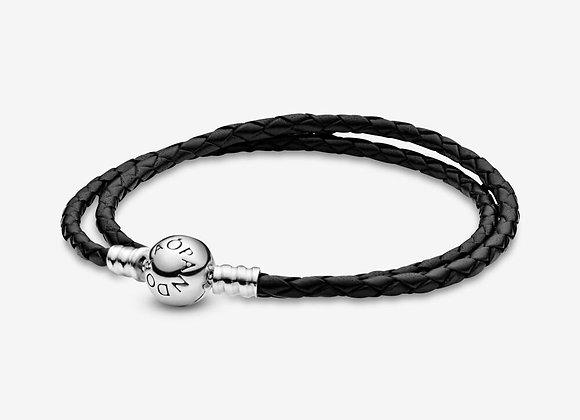 Double Bracelet en Cuir Noir Pandora Moments