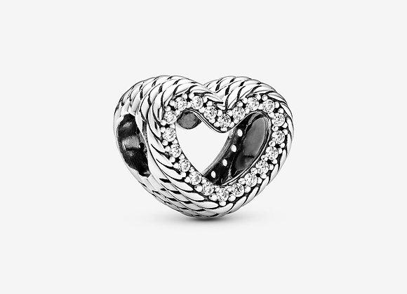 Charm Cœur Ouvert Motif Maille Serpent