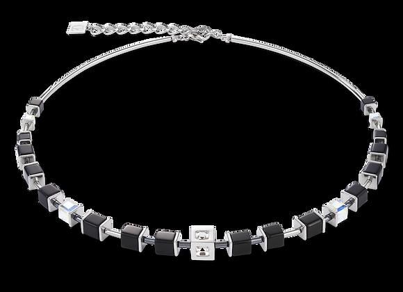 Collier GeoCUBE® Cube acier & cristal noir-argent