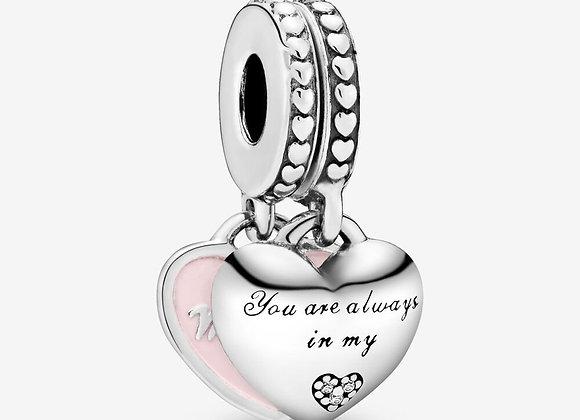 Charm pendentif avec cœurs mère et fille
