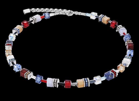 Collier GeoCUBE® Cristaux Swarovski® & pierres précieuses bleu-rouge