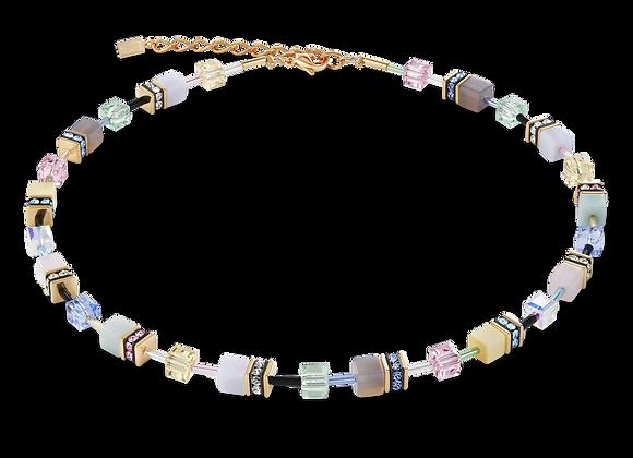 Collier GeoCUBE® Cristaux Swarovski® & pierres précieuses multicolore romance