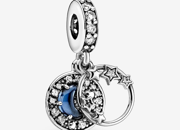 Charm Pendant Ciel Nocturne Bleu Croissant de Lune & Étoiles