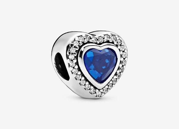 Charm Cœur Bleu Scintillant
