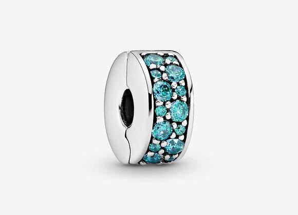 Charm Clip Pavé Bleu-Vert