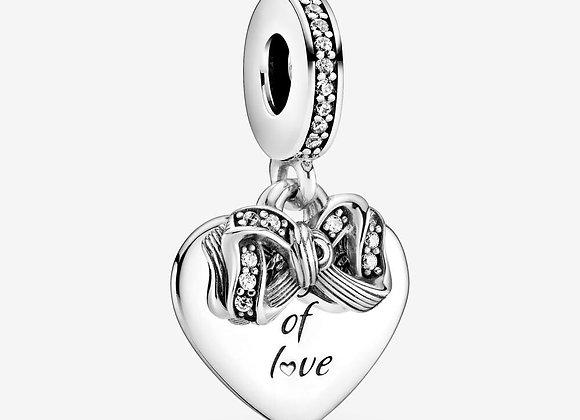 Charm Pendant Nœud & Cœur d'Amour