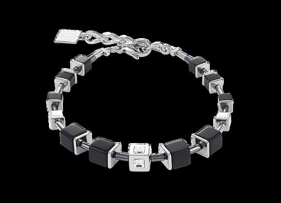 Bracelet GeoCUBE® Cube acier & cristal noir-argent
