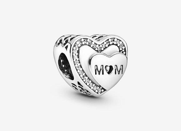 Charm Cœur Maman Scintillant