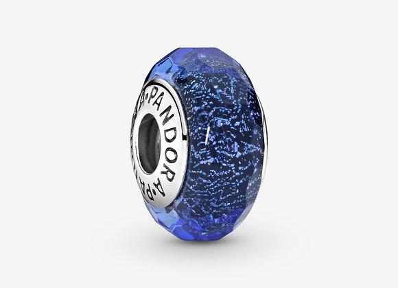 Charm Verre de Murano Bleu Facetté