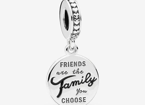 Charm Pendant Famille de Cœur en Argent