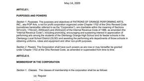 POPArts Code of Regulations
