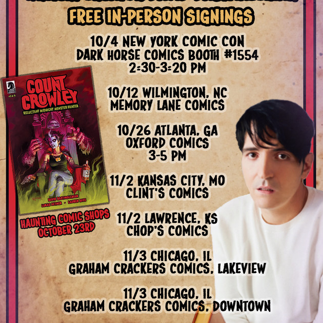 Count Crowley Signing Tour Schedule